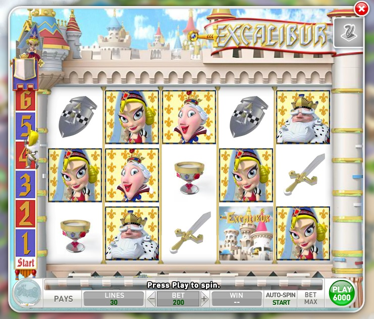The Excalibur slot machine is the first you will have access to